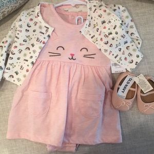 9ae7bdeab Carter's Matching Sets - Carter's Cat Dress & Cardigan Set + Old Navy Shoes